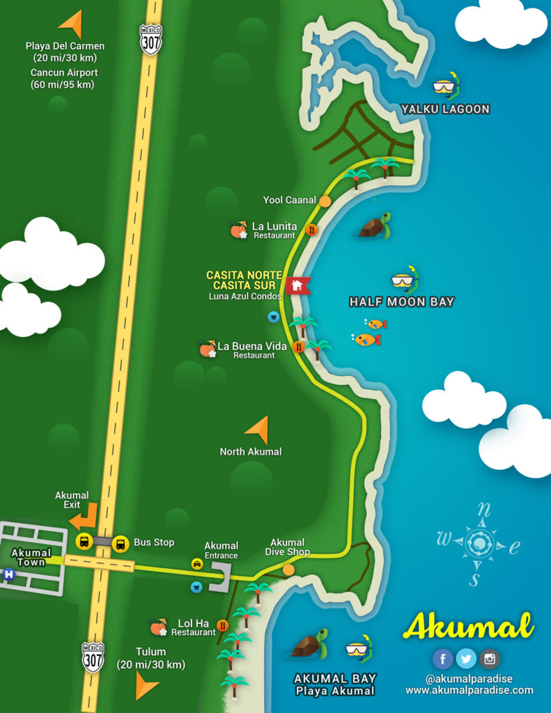 map of Half Moon Bay, thanks to Akumal Paradise