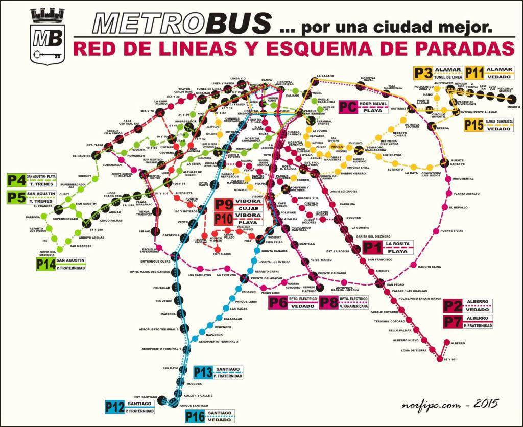 La Habana metrobus map