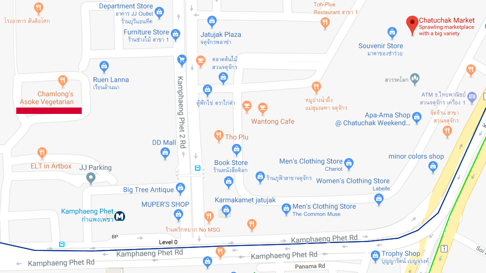 map of the vegan restaurant at Chatuchak Market in Bangkok