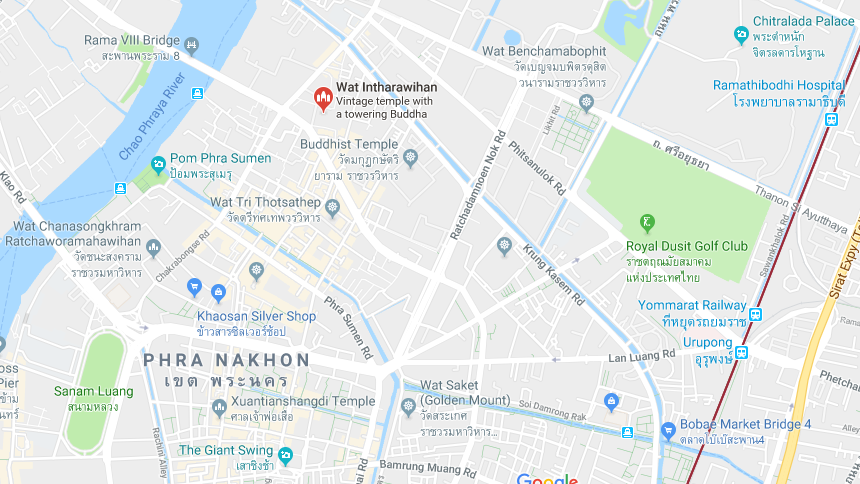 map of Wat Intharawihan in Bangkok