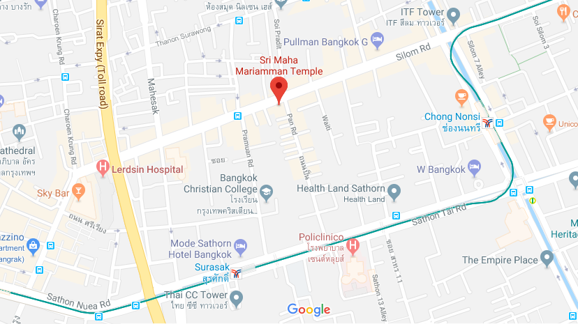 map for the vegan stalls at the Hindu Temple in Bangkok