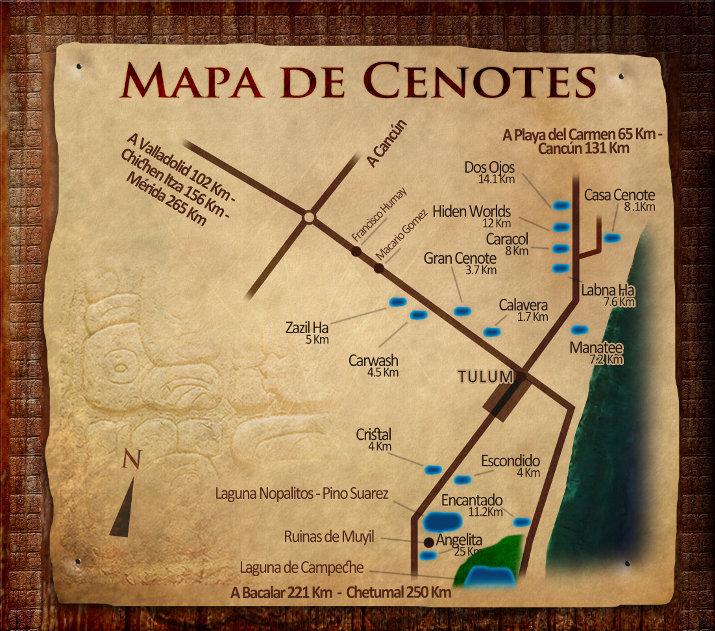 map of the cenotes near Tulum