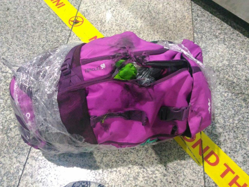 damaged backpack