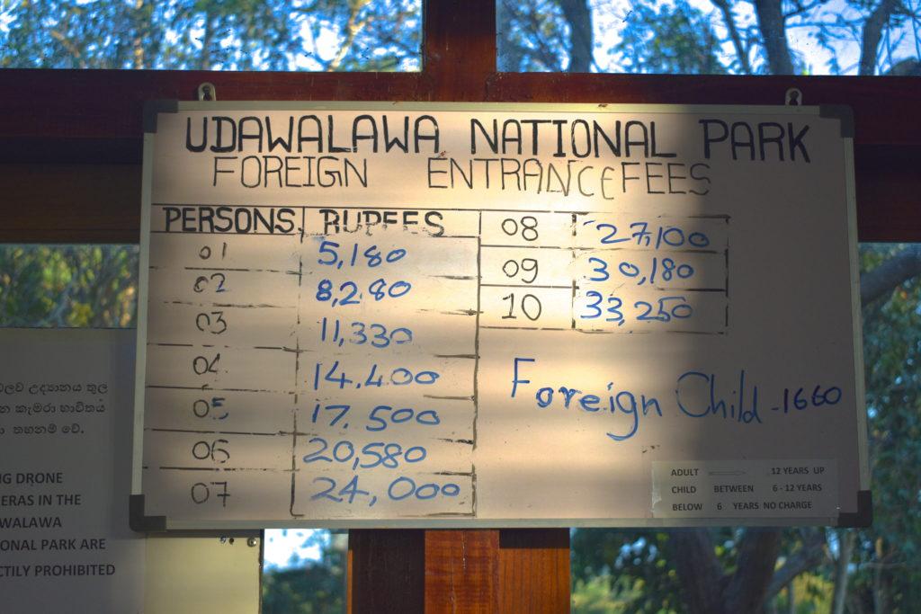 udawalawe entrance fees